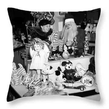First Lady Eleanor Roosevelt And Santa Throw Pillow by Science Source
