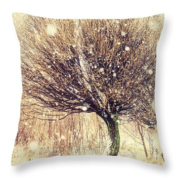 First Snow. Snow Flakes Throw Pillow by Jenny Rainbow