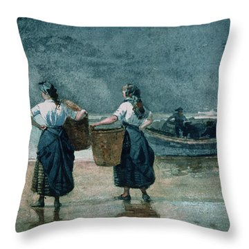 Fisher Girls By The Sea Throw Pillow by Winslow Homer