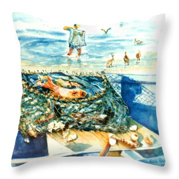 Fisherman And His Assistants Throw Pillow by Estela Robles