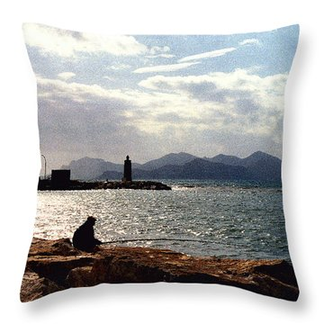 Fisherman In Nice France Throw Pillow by Nancy Mueller