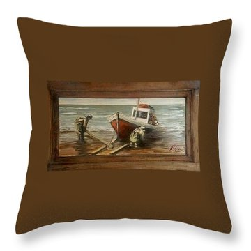 Fishermen S Evening Throw Pillow by Natalia Tejera