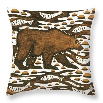 Fishing Bear Throw Pillow by Nat Morley