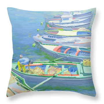 Fishing Boats Throw Pillow by William Ireland