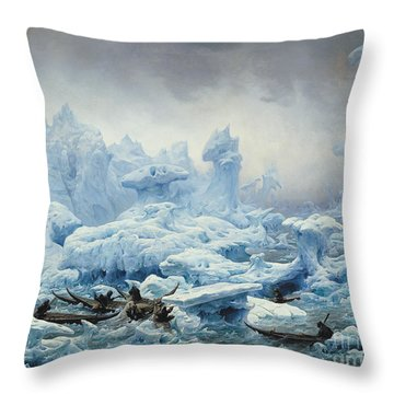 Fishing For Walrus In The Arctic Ocean Throw Pillow by Francois Auguste Biard