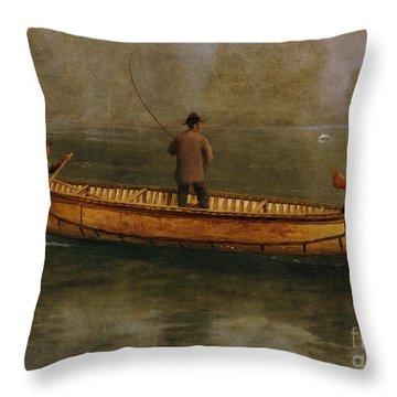 Fishing From A Canoe Throw Pillow by Albert Bierstadt