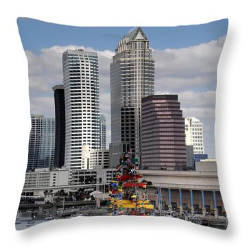 Flags Of Gasparilla Throw Pillow by David Lee Thompson