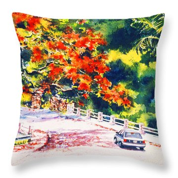 Flamboyant At Crashboat Beach Throw Pillow by Estela Robles