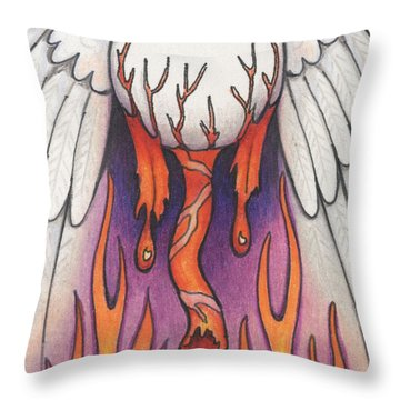 Flaming Flying Eyeball Throw Pillow by Amy S Turner