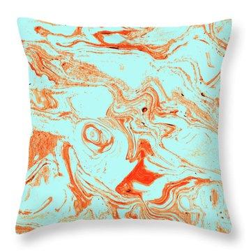 Flamingo And Sea Marble Throw Pillow by Uma Gokhale