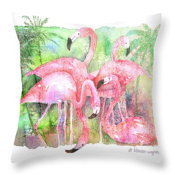 Flamingo Five Throw Pillow by Arline Wagner