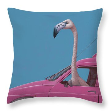 Flamingo Throw Pillow by Jasper Oostland