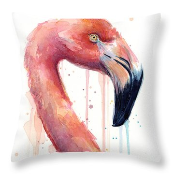 Flamingo Painting Watercolor - Facing Right Throw Pillow by Olga Shvartsur