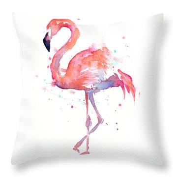 Flamingo Watercolor Throw Pillow by Olga Shvartsur