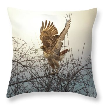 Flashing The Truckers Throw Pillow by Robert Frederick