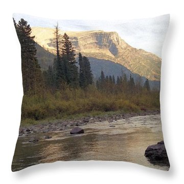 Flathead River Throw Pillow by Richard Rizzo
