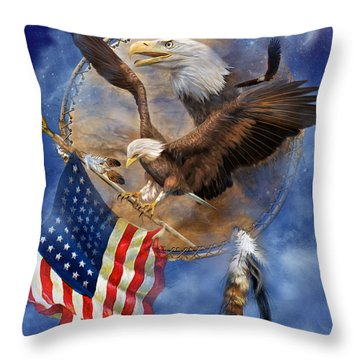 Flight For Freedom Throw Pillow by Carol Cavalaris
