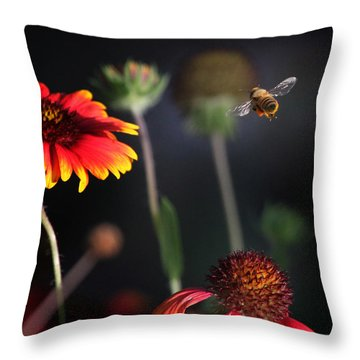 Flight Of A Honey Bee Throw Pillow by Joseph G Holland