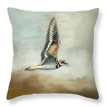 Flight Of The Killdeer Throw Pillow by Jai Johnson