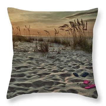 Flipflops On The Beach Throw Pillow by Michael Thomas