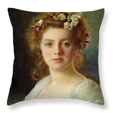 Flora Throw Pillow by Gustave Jacquet