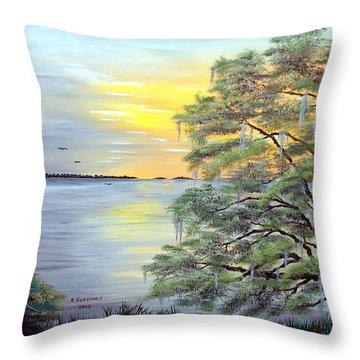 Florida Bay Sunrise Throw Pillow by Riley Geddings