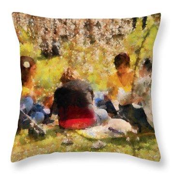 Flower - Sakura - Afternoon Picnic Throw Pillow by Mike Savad
