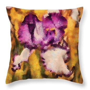 Flower - Iris - Diafragma Violeta Throw Pillow by Mike Savad