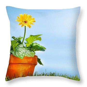 Flower Pot On The Grass Throw Pillow by Sandra Cunningham