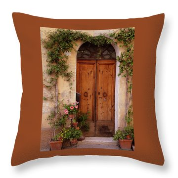 Flowered Tuscan Door Throw Pillow by Donna Corless