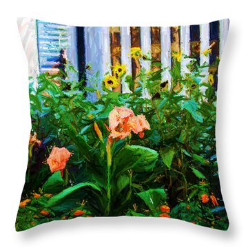 Flowers At The Fountain Of The Plaza Hotel Throw Pillow by Randy Aveille