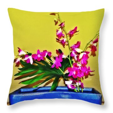 Flowers In A Blue Dish - Japanese House Throw Pillow by Simon Wolter
