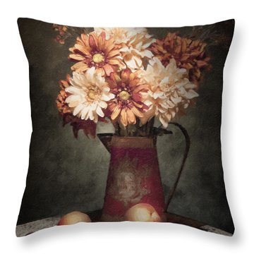 Flowers With Peaches Still Life Throw Pillow by Tom Mc Nemar