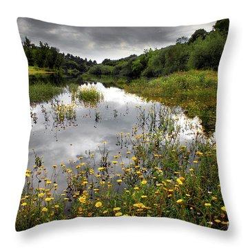 Flowery Lake Throw Pillow by Carlos Caetano