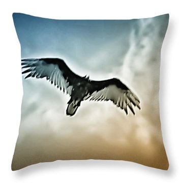 Flying Falcon Throw Pillow by Bill Cannon