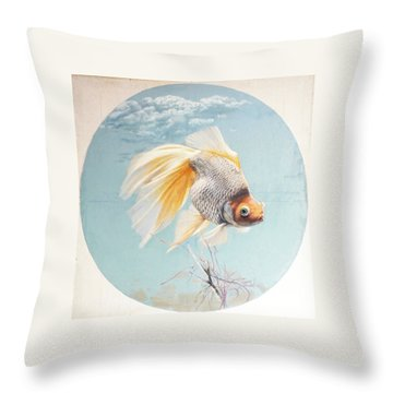 Flying In The Clouds Of Goldfish Throw Pillow by Chen Baoyi