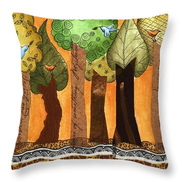 Flying In The Forest Throw Pillow by Graciela Bello