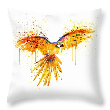 Flying Parrot Watercolor Throw Pillow by Marian Voicu