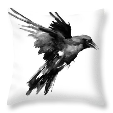Flying Raven Throw Pillow by Suren Nersisyan