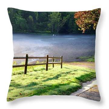 Fog On The River Throw Pillow by Betty LaRue