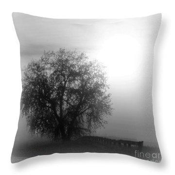 Fog Tree Throw Pillow by Barbara Henry
