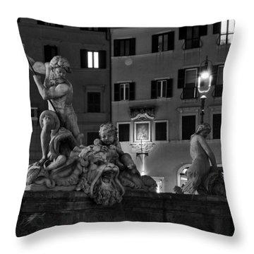 Fontana Del Nettuno Throw Pillow by Fabrizio Troiani