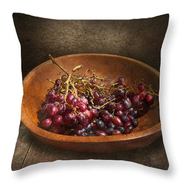 Food - Grapes - A Bowl Of Grapes  Throw Pillow by Mike Savad