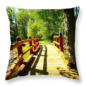 Foot Bridge Throw Pillow by Cheryl Young