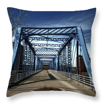Foot Bridge Over The Grand River Throw Pillow by Richard Gregurich