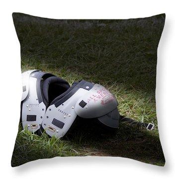 Football Shoulder Pads Throw Pillow by Tom Mc Nemar