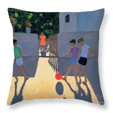 Footballers Throw Pillow by Andrew Macara