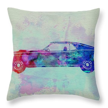 Ford Mustang Watercolor 1 Throw Pillow by Naxart Studio