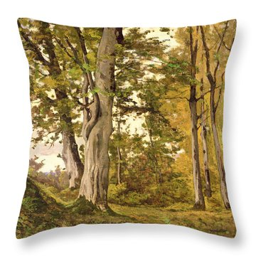 Forest At Fontainebleau Throw Pillow by Henri-Joseph Harpignies