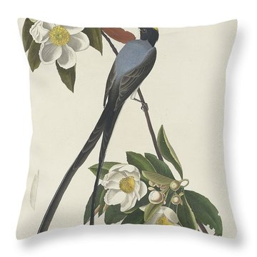 Forked-tail Flycatcher Throw Pillow by John James Audubon